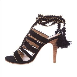 Black suede lace up sandals by Ulla Johnson